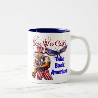 Uncle Obama, Yes We Can Take Back America Two-Tone Coffee Mug
