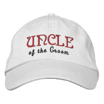 UNCLE of the GROOM Custom Name WHITE B6 Embroidered Baseball Hat