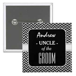 UNCLE OF THE GROOM Trendy Houndstooth A01 Button