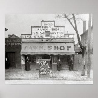 Uncle Paul's Pawn Shop, 1899. Vintage Photo Poster
