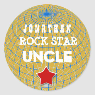 UNCLE Rock Star with GLOBE and STAR V05 Classic Round Sticker