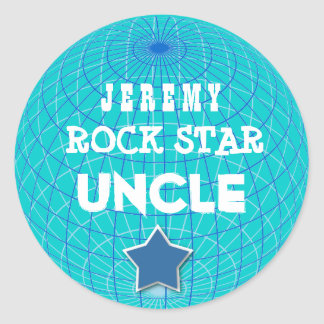 UNCLE Rock Star with GLOBE and STAR V06 Classic Round Sticker
