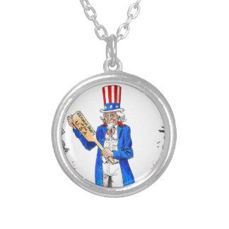 Uncle Sam 2 Round Pendant Necklace