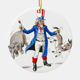 Uncle Sam 3 Ceramic Ornament
