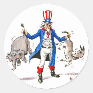 Uncle Sam 3 Classic Round Sticker