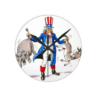 Uncle Sam 3 Round Clock