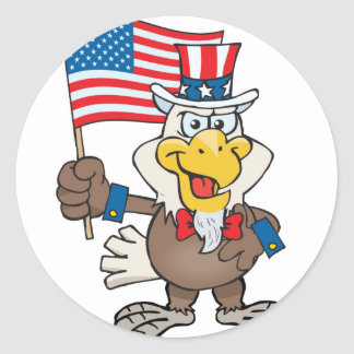 Uncle Sam 4th of July Bald Eagle Classic Round Sticker