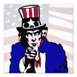 Uncle Sam 5.25x5.25 Square Paper Invitation Card