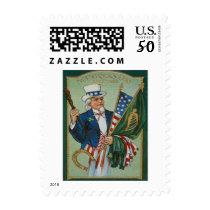 Uncle Sam American Irish Flag Lucky Horseshoe Postage
