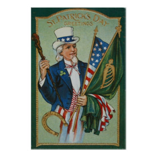 Uncle Sam American Irish Flag Lucky Horseshoe Poster