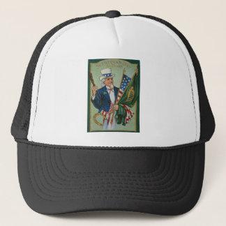 Uncle Sam American Irish Flag Lucky Horseshoe Trucker Hat