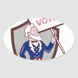 Uncle Sam American Placard Vote Crest Cartoon Oval Sticker
