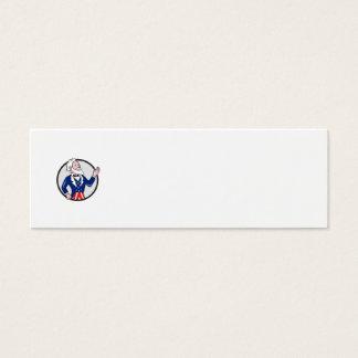 Uncle Sam American Waving Hand Circle Cartoon Mini Business Card