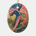 Uncle Sam and American Flag decor Ornament