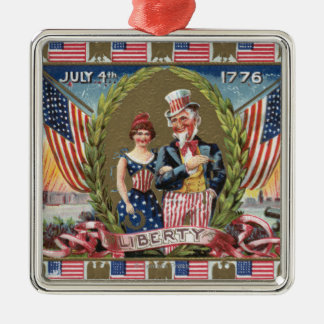 Uncle Sam and Lady Liberty Christmas Ornaments