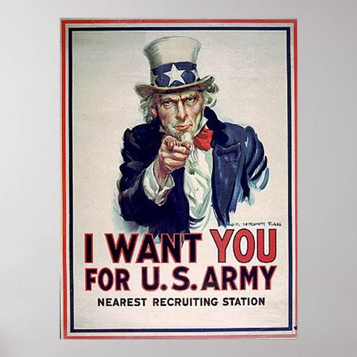 Uncle Sam Army 1915 Print