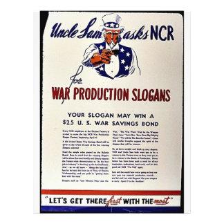 Uncle Sam Asks Ncr For War Production Slogans Flyer