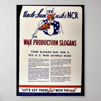 Uncle Sam Asks Ncr For War Production Slogans Posters