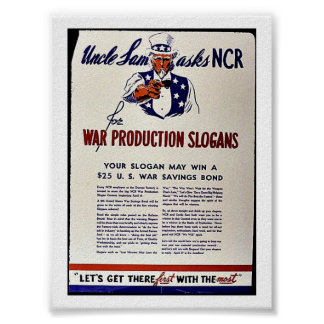 Uncle Sam Asks Ncr For War Production Slogans Print