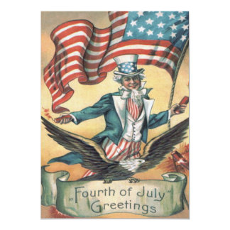 Uncle Sam Bald Eagle USA Flag Fireworks Card