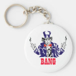 Uncle Sam Bangs Basic Round Button Keychain
