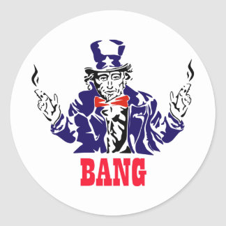 Uncle Sam Bangs Classic Round Sticker