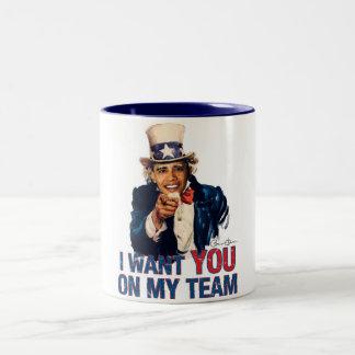 Uncle Sam Barack Obama I Want You On My Team Two-Tone Coffee Mug