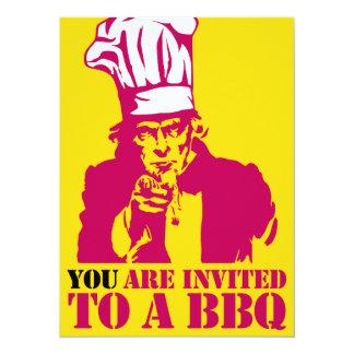Uncle Sam BBQ (barbecue) grill invitation, Card