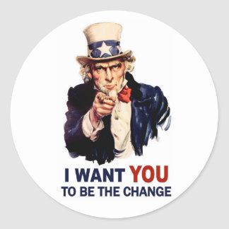 Uncle Sam Be the Change Classic Round Sticker