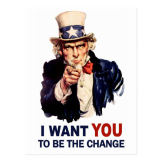 Uncle Sam Be the Change Postcard