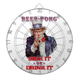 Uncle Sam Beer Pong-Sink It Or Drink It Dartboard