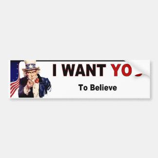 Uncle Sam - Believe Bumper Sticker