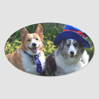 Uncle Sam & Betsy Ross Oval Sticker