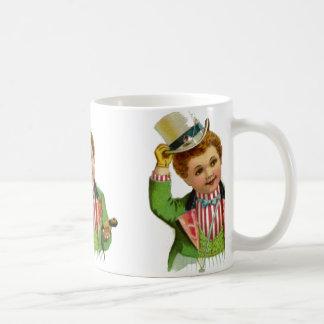 Uncle Sam Boy July 4th Vintage Patriotic Postcard Coffee Mug