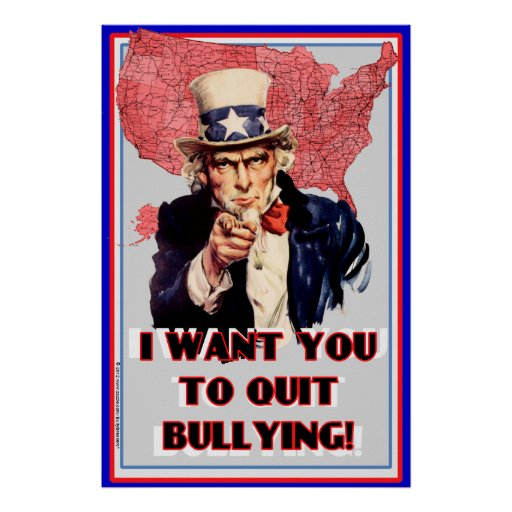 "Uncle Sam Bullying Poster ""I want You To Quit!"""