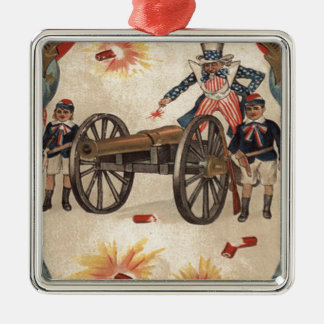 Uncle Sam Cannon Fireworks Firecracker Metal Ornament