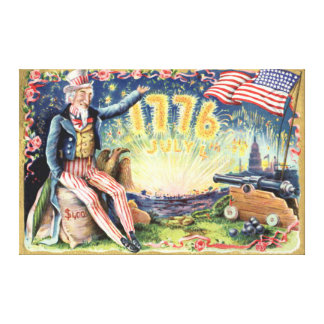 Uncle Sam Cannon Fireworks US Flag Canvas Print