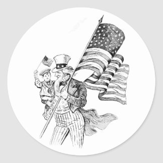 Uncle Sam Carrying Flag and Patriotic Child Classic Round Sticker