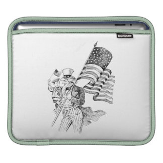 Uncle Sam Carrying Flag and Patriotic Child Sleeve For iPads