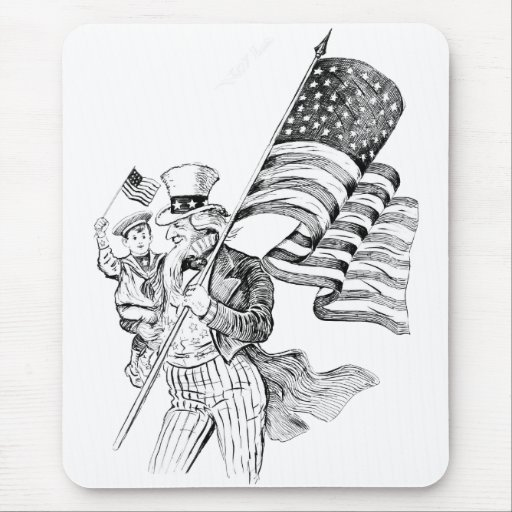 Uncle Sam Carrying Flag and Patriotic Child Mouse Pads