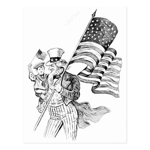 Uncle Sam Carrying Flag and Patriotic Child Postcard