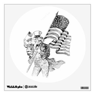 Uncle Sam Carrying Flag and Patriotic Child Wall Decal
