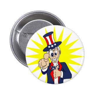 Uncle Sam Cartoon 2 Inch Round Button