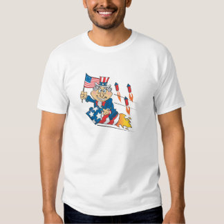 Uncle Sam Cartoon fireworks T-Shirt