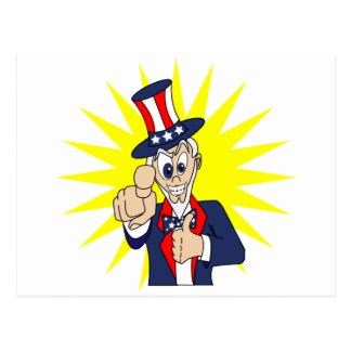Uncle Sam Cartoon Postcard