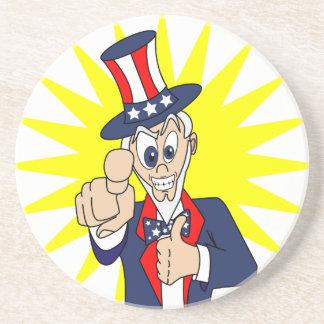 Uncle Sam Cartoon Sandstone Coaster