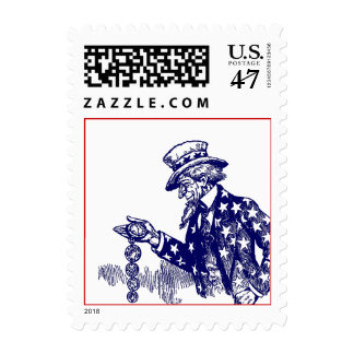 Uncle Sam Checking His Pocket Watch POSTAGE STAMP