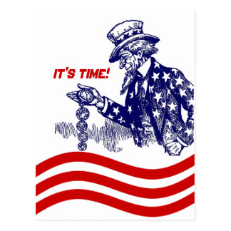 Uncle Sam Checking Pocket Watch Party Invitation Postcard