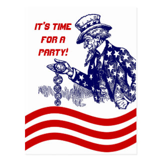 Uncle Sam Checking Pocket Watch Party Invitation Post Cards