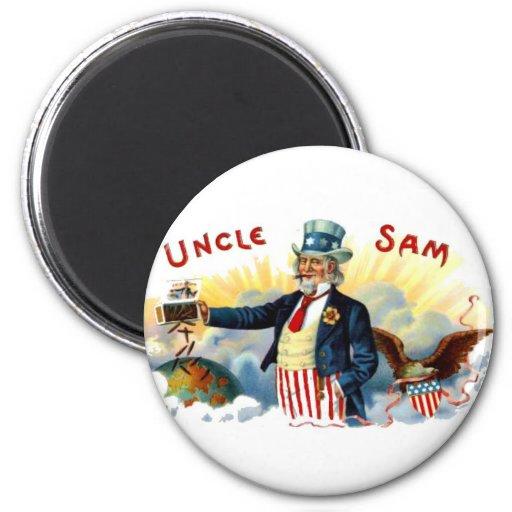 Uncle Sam Cigars July 4th Vintage 2 Inch Round Magnet